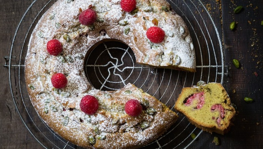 Gesundheitskuchen, gâteau framboise et pistache