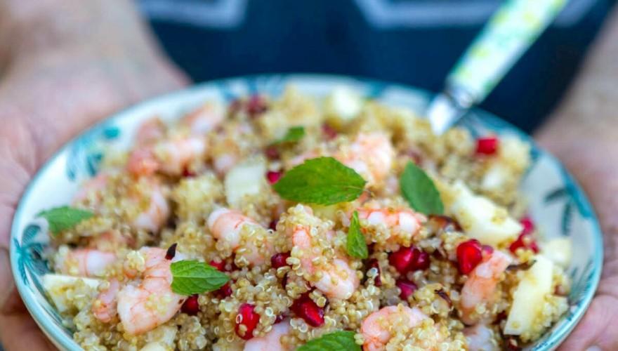 Salade de quinoa, crevettes et menthe