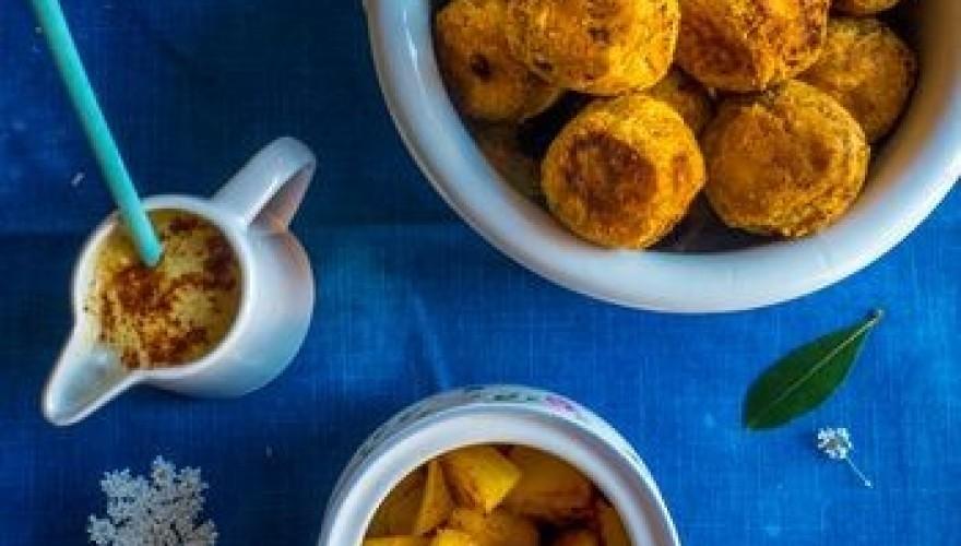 Boulettes de lentilles corail & ananas rôti