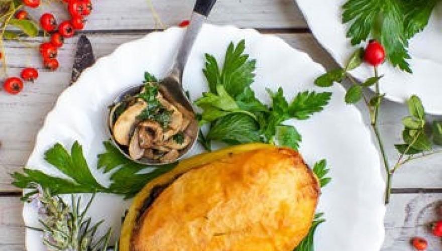 Pommes de terre farcies aux épinards & champignons